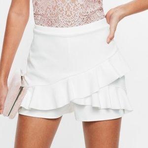 Missguided Ruffle Skort Shorts Skirt White Size 0